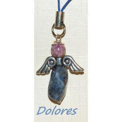 Sodalitowy aniołek z główką z jaspisu purpurowego - na twórczą ekspresję Kolczyki