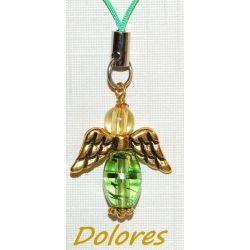 Zielony aniołek ze złotymi skrzydłami Na rękę