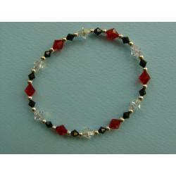 Czerwono-czarno-biała  bransoletka z kryształów Swarowskiego