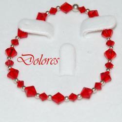 Bransoletka czerwona z kryształkami Swarovskiego i srebrnymi kulkami 2,5 mm Na rękę