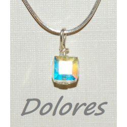 Srebrny wisiorek - kryształowa 4 mm kostka - Kryształek Swarovskiego Wisiorki