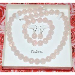Naszyjnik, bransoletka i srebrne kolczyki z 1,2 cm kulek kwarcu różowego na miłość i młodość Wisiorki