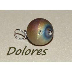 Wisiorek z 1 cm kulką tytanowanego agatu (druzzy) z geodami