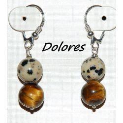 Srebrne kolczyki z 1 cm kulek tygrysiego oka i kamienia dalmatyńskiego