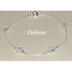 Srebrna bransoletka z 6 mm kulkami z lodowego kryształu górskiego Biżuteria i Zegarki