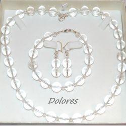 Srebrne kolczyki, naszyjnik i bransoletka z 1 cm kulkami kryształu górskiego i kryształkami Swarovskiego Biżuteria ślubna