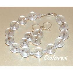 Srebrne kolczyki i bransoletka z 1 cm kulek z kryształu górskiego i kryształków Swarovskiego ze srebrnym zapięcime Biżuteria ślubna