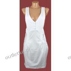 Sukienka, ICHI, biała, na szelkach
