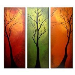 OBRAZ/TRYPTYK nastrojowe drzewa  Akryl