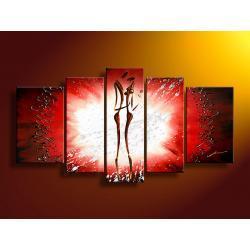 obrazy nowoczesney ręcznie malowane- komplet 5 elementów  Akryl