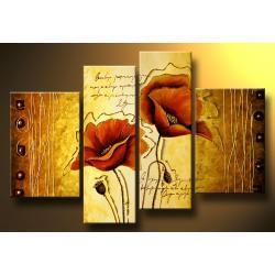 """""""poppy art"""" obrazy nowoczesne na płótnie 4 elementy, wykończony złotą strukturą, bardzo efektowny Akryl"""