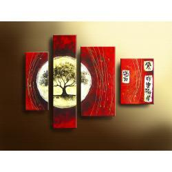 """""""drzewko szczęścia"""" feng shui / ręcznie malowany obrazy nowoczesne na płótnie, złota struktura Akryl"""