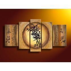 """""""złoty bambus"""" obrazy nowoczesne strukturalny na płótnie 5 części Akryl"""