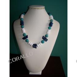 Naszyjnik - Koral biały, Koral niebieski, Howlit turkusowy