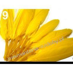 KACZE PIÓRA, KOLOROWE PIÓRKA  WINETOU 9-14 cm - żółte Koraliki i cekiny