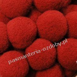 POMPONY, POMPONIKI OZDOBNE duże 2cm/1szt - czerwony Koraliki i cekiny