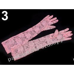 RĘKAWICE WIECZOROWE dł. 43cm KORONKOWE - różowe Przebrania, kostiumy, maski
