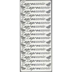 STICKERSY NAKLEJKI - napis ZAPROSZENIE + obrączki srebrne