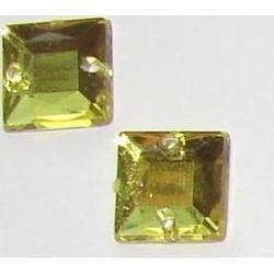 DŻETY kamienie kwadraty do przyszycia 8mm KOLOR ŻÓŁTY Przedmioty do ozdabiania