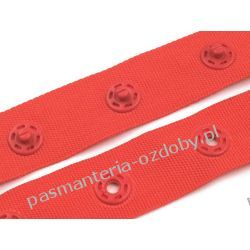NAPY  ZATRZASKI NA TAŚMIE szer 18mm / 0,5m czerwony Koraliki i cekiny