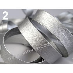 Lamówka skośna sztuczna skóra szer. 15mm - 1 m - srebrna Przedmioty do ozdabiania