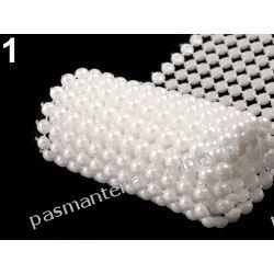 Taśma szerokość 58 mm z perełkami 0,5m - biała Przedmioty do ozdabiania