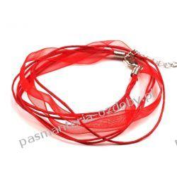 BAZA DO NASZYJNIKA sznurek z tasiemką - czerwony Biżuteria - półprodukty