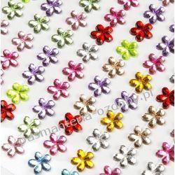 DŻETYKryształki Kwiatki 12mm Mix Kolorów 66 szt Scrapbooking