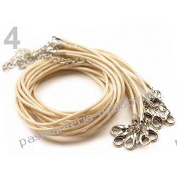 BAZA DO NASZYJNIKA sznurek powlekany 45cm - kremowy Biżuteria - półprodukty