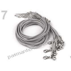 BAZA DO NASZYJNIKA sznurek powlekany 45cm - szary Biżuteria - półprodukty