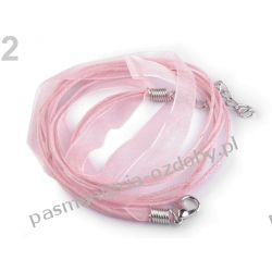 BAZA DO NASZYJNIKA sznurek z tasiemką - różowy Biżuteria - półprodukty