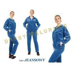 Dresy welurowe damskie HAFT kolor dżinsowy