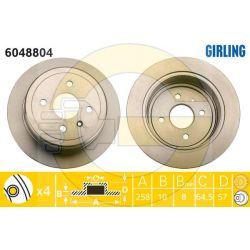 6048804 GIR 6048804 TARCZA HAMULCOWA 258X10 P 4-OTW OPEL ZAFIRA 01 TYL SZT GIRLING TARCZE GIRLING [915249]...