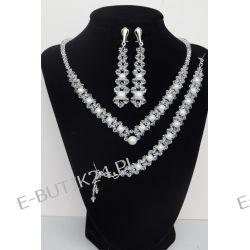 UNIVIA* Biżuteria ślubna PERŁY Komplet ŚLUB Klipsy Biżuteria ślubna