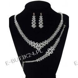 UNIVIA* Komplet Ślubny Crystal naszyjnik 52 cm Biżuteria i Zegarki