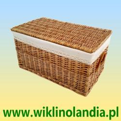 Kufer wiklinowy płaski z obszyciem