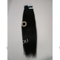 Taśma silikonowa z włosami! Metoda kanapkowa! Zestaw! Włosy naturalne dł.45 cm!