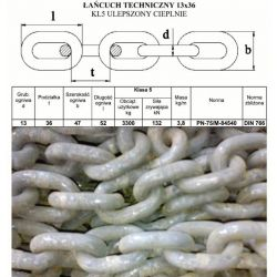 ŁAŃCUCH ROZRZUTNIKA OBORNIKA HAWE,STRAUTMANN 13x36 Części do maszyn rolniczych