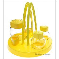 Zestaw do przypraw stołowy 4el. szkło żółty