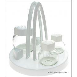 Zestaw do przypraw stołowy 4el. szkło biały
