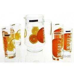 Zestaw do napojów 7cz. Orange dzbanek szklanki Luminarc