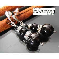 Kolczyki SWAROVSKI perły czarne black 457