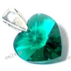 0.925 Srebro Emerald  Swarovski  Serduszko 10 x 10 mm Wisorek  Długość 22 mm