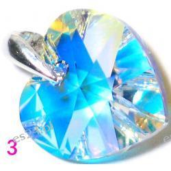 0.925 Srebro Cristal AB Swarovski  Serduszko 10 x 10 mm Wisorek  Długość 22 mm