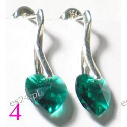 0.925 Srebro Emerald Swarovski  Serduszko 10 x 10 mm Kolczyki Długość 30 mm