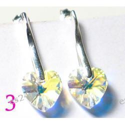 0.925 Srebro Cristal AB Swarovski  Serduszko 10 x 10 mm Kolczyki Długość 30 mm