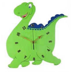 DINO Ozdobny drewniany zegar ścienny dla DZIECI