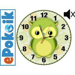 SOWA drewniany zegar ścienny dla dzieci (O-zielona)