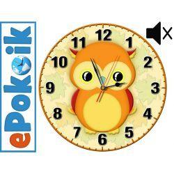 SOWA drewniany zegar ścienny dla dzieci (O-pomarańcz)