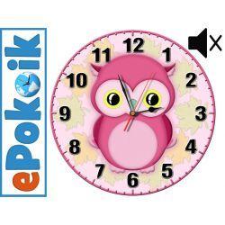 SOWA drewniany zegar ścienny dla dzieci (O-róż)